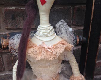 Cloth doll, Evangaline. Rag doll, OOAK,