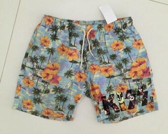 KISS Shorts swiming suit 1990s Hawaii Flowers - size M