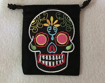 """Sugar Skull 3"""" by 4"""" Black velvet pouch, Mexico, Day of the Dead. Free Shipping Included!!"""