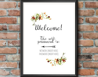Wifi Password Print A4 | New Home Welcome Personalised Customisable Gift Floral Print Internet Wall Art Decor Frame Bespoke Sign Handmade |