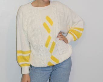 80's YELLOW/WHITE SWEATER| Rochelle