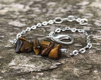 Bracelet, Semi Precious Stones, Silver, Chain, Tiger's Eye, Beaded, Stacking Bracelet