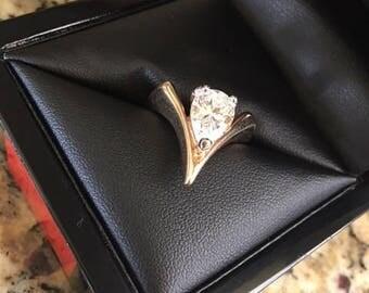 Vintage 18K HGE, Solitaire Pear-Shape Cubic Zirconia Ring