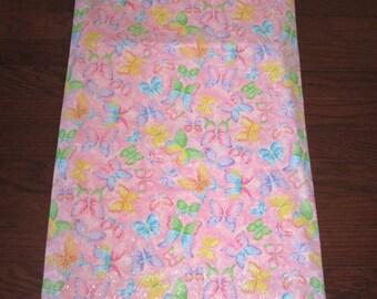 Nap Mat Cover with Matching Pillow Cover - Pink Butterflies