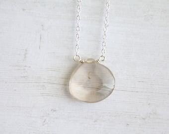 Smoky Quartz teardrop necklace, gifts for her, dainty necklace, gemstone necklace, minimalist jewelry, modern jewelry, layering necklace