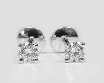 Diamond Stud Earrings, 18k Gold, 14k Gold