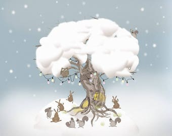 Cosy Creatures - Winter in Friendly Forest Card (Blank Inside)