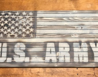 Rustic grey weathered wood US Army American flag wall plaque