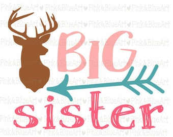 Big Sister Deer SVG Clipart Cut Files Silhouette Cameo Svg for Cricut and Vinyl File cutting Digital cuts file DXF Png Pdf Eps