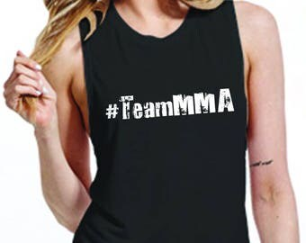 Team MMA Black And White womens Muscle Tank - McGregor v Mayweather - Choose your side