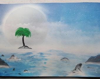 "Seaside | 15"" x 22"" Spray Paint Art"