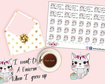 Unicorn Planner Stickers, Kawaii Cat Stickers, Unicorn Cat Sticker