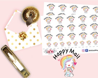 Happy Mail Unicorn Stickers, Unicorn Planner Stickers, Mail Stickers, Happy Mail Tracker Stickers, Scrapbook Stickers, Planner Accessories