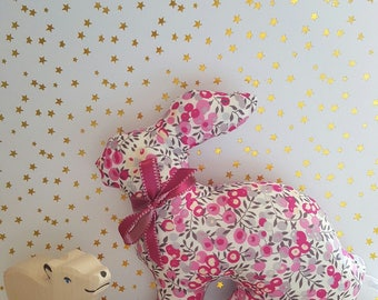 Bunny, large blanket in Liberty Wiltshire bougainvillea, Limited Edition.