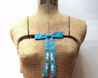 Beaded 1960s turquoise western bow tie