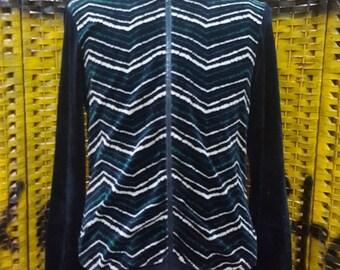 Vintage APC Made in France / velvet style / full zipper / Medium size sweater (W201)