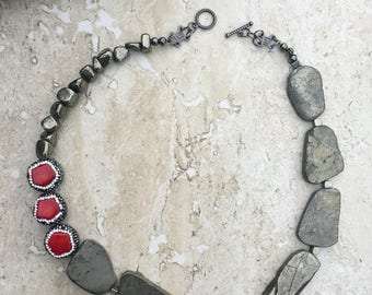 Pyrite Necklace, Red Coral Necklace, Rhinestone Necklace, Statement Necklace, Slab Bead Necklace, Grey Red Chunky Necklace, Anniversary Gift