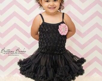 Black rosette dress...toddler dress..Birthday dress..