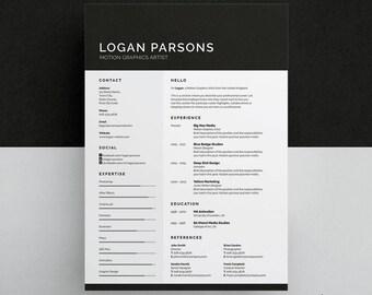 Logan Resume/CV Template | Word | Photoshop | InDesign | Professional Resume Design | Cover Letter | Instant Download