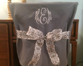 Gray Monogrammed Dorm Chair Back Cover Personalized Office Dining
