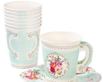 Vintage Paper Tea Party Paper Cups and Saucers, Vintage Tea Party, Baby Shower, Vintage Hen Party, Paper Cups, Vintage Wedding, Bachelorette