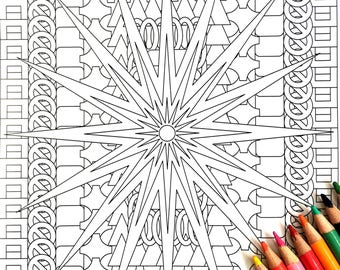 North Star, Adult Coloring Page, Intricate Design, Geometric Repeating Patterns, Symmetrical design,Instant Download, Grownup coloring