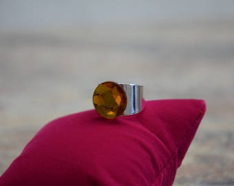 Silver plated ring in wide version with Bohemian amber cut glass bead