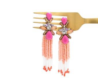 Tassel Earrings, Beaded Tassel Earrings, Drop Earrings, Beaded Earrings, Fuchisia Pink, Hot Pink Beaded Earrings, Gem Stone Earrings,