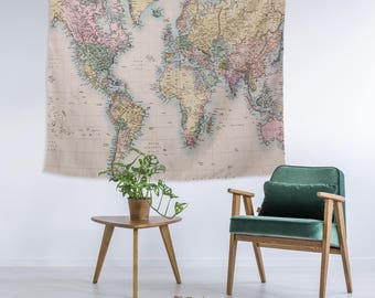 vintage world map globe modern wall art college apartment unique dorm room decor trendy wall tapestry