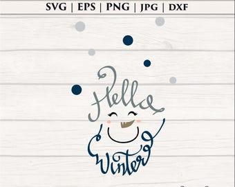 Winter Snowman SVG, Christmas  Clip Art, Silhouette File, Cricut Cut Files, Digital Cutting EPS PNG dxf, Instant Print Download, Wall Vinyl