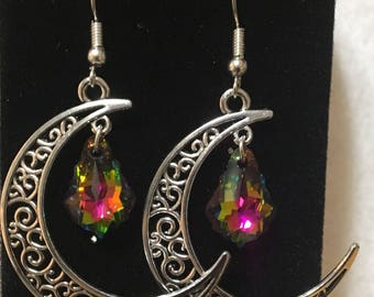 Stunning moon charm and Swarovski crystal earrings