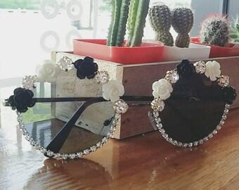 Crystal Flower Sunglasses, Summer Sunglasses, festival Sunglasses, Embellished Sunglasses, Rainbow Sunglasses, floral sunglasses