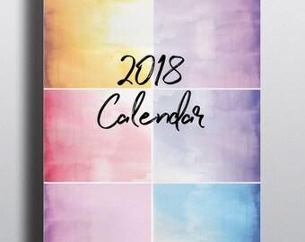 Watercolor Printable 2018 Calendar