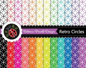Retro Circles Pattern,Rainbow Colours and White Digital Paper Set. Scrapbooking, Craft and Digital Backgrounds. Personal & Commercial Use.
