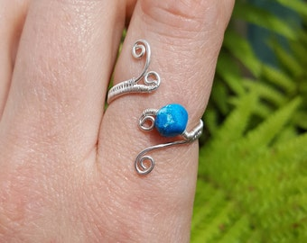 Turquoise howlite sterling and fine silver adjustable ring