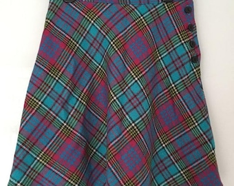 Topshop Vintage 1990s Preppy Wool Mix Multicoloured Plaid Tartan Side Button Mini Skirt