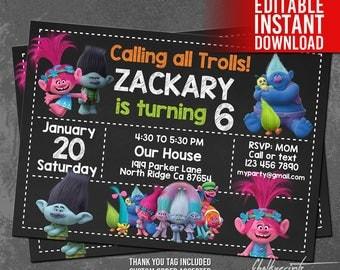Trolls Invitation Instant Download, Trolls Birthday Invitation, Trolls Invites, Trolls Movie Invitation, Trolls Thank You Tags, Editable PDF