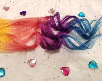 RAINBOW Yellow Pink Peach Purple Blue Unicorn Mermaid Ombre Clip In Hair Extensions, Colored Clip In Hair Extensions, Festival Hair Weave