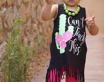 Cactus Can't Touch This Vinyl Tee or Fringe Dress