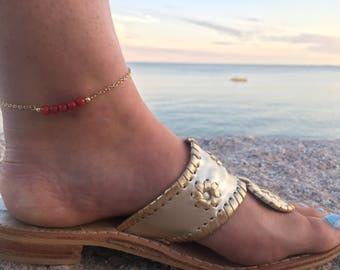 Beaded Anklet - Beaded Bar Anklet - Bar Anklet - Red Bead Ankle Bracelet - Ankle Bracelet