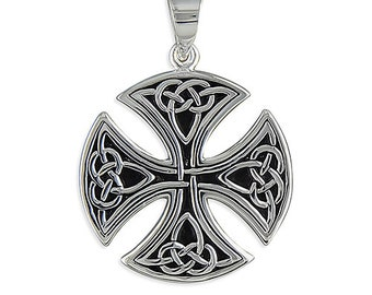 Large Round Celtic Sterling Silver Cross