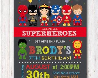 Superheroes Invitation, Superhero Birthday, Superheroes Party, Super hero Invite, printable