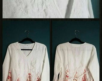 Red and White Linen Blouse Handcrafted by Saidonia Eco