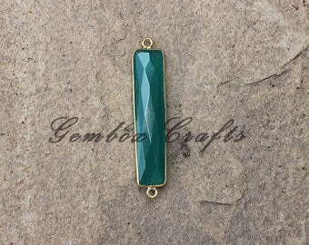 Green Onyx 7x34mm Rectangle Briolette Vermeil Bezel Connector