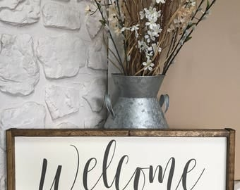 Welcome. Wood Sign. Wood Framed Sign. Wood Frame. Rustic. Farmhouse. Wall Decor. Home Decor.