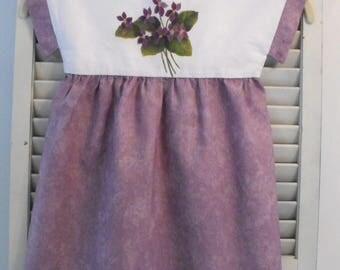 Little Girls Dress, Purple Cotton Dress, Size 4/5