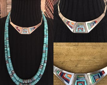 Native American Jewelry, Old Pawn, Zuni Jewelry, Navajo Jewelry, Inlay Turquoise Necklace, Spiny Oyster, Lapis Jewelry, Modernist Jewelry