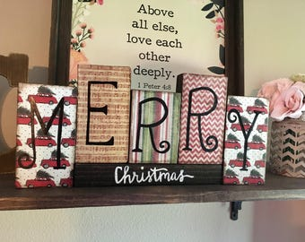 Reversible holiday blocks, merry christmas, happy thanksgiving