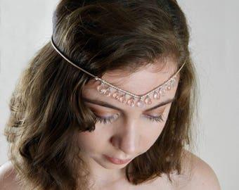 Boho, Vintage Style Bridal Headband Hallmarked Sterling Silver and Crystal Quartz Circlet.