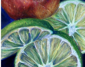 Red Pear and Lime Pastel Drawing Print